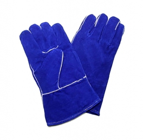 Краги спилковые синие укороченные